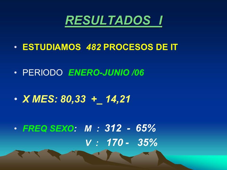 RESULTADOS I ESTUDIAMOS 482 PROCESOS DE IT PERIODO ENERO-JUNIO /06 X MES: 80,33 +_ 14,21 FREQ SEXO: M : 312 - 65% V : 170 - 35%