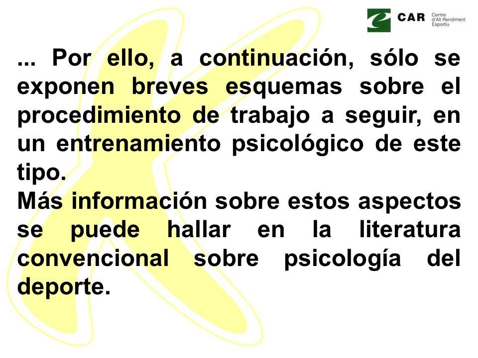 ... Por ello, a continuación, sólo se exponen breves esquemas sobre el procedimiento de trabajo a seguir, en un entrenamiento psicológico de este tipo