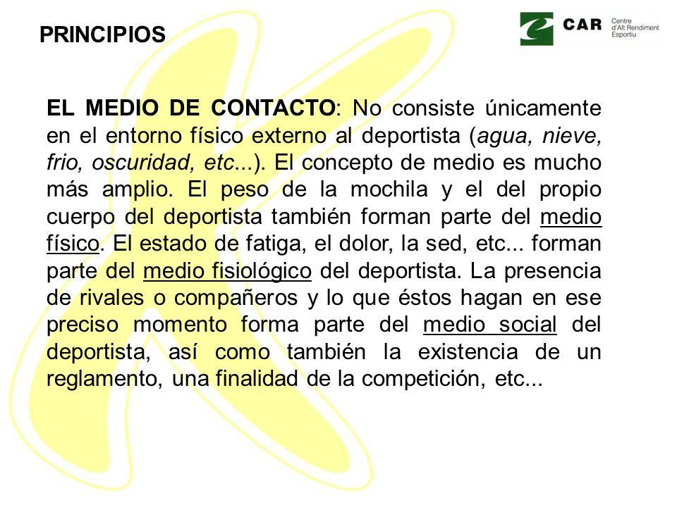 EL MEDIO DE CONTACTO: No consiste únicamente en el entorno físico externo al deportista (agua, nieve, frio, oscuridad, etc...).