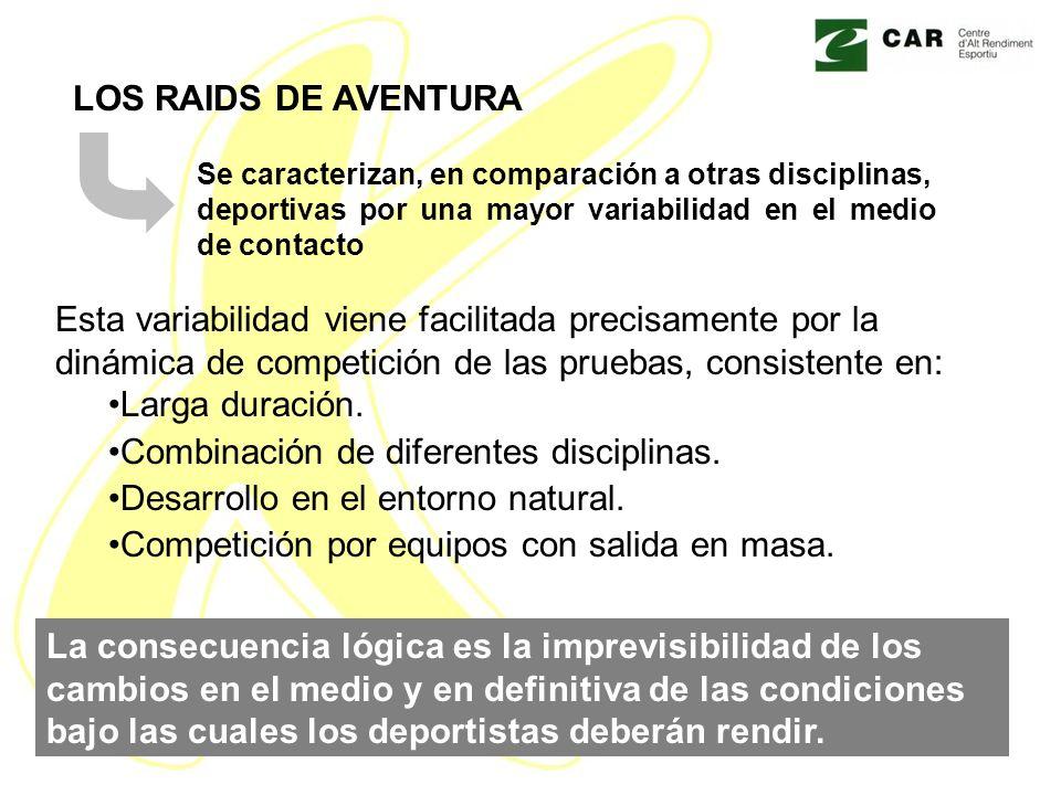 LOS RAIDS DE AVENTURA Se caracterizan, en comparación a otras disciplinas, deportivas por una mayor variabilidad en el medio de contacto Esta variabil
