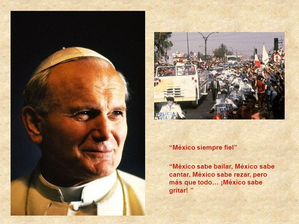 Su primer viaje en su labor pastoral, 1979 a República Dominicana, México y Bahamas En México, las porras dedicadas al pontífice siempre estuvieron pr