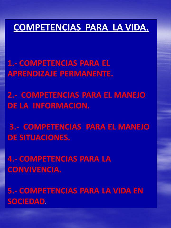 COMPETENCIAS PARA LA VIDA. 1.- COMPETENCIAS PARA EL APRENDIZAJE PERMANENTE. 2.- COMPETENCIAS PARA EL MANEJO DE LA INFORMACION. 3.- COMPETENCIAS PARA E