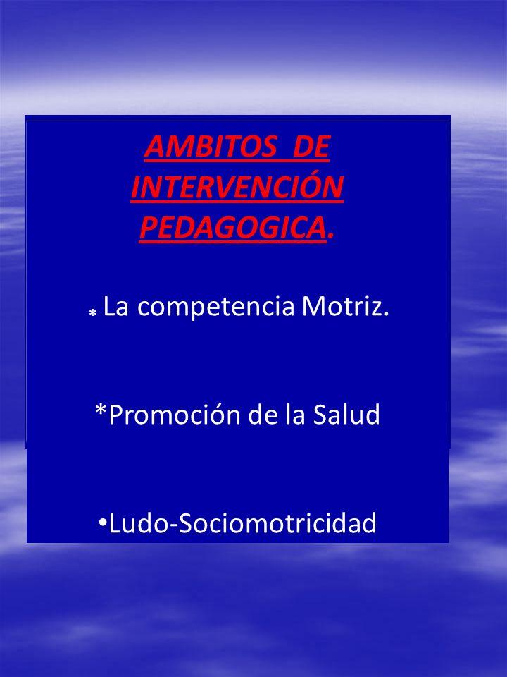 AMBITOS DE INTERVENCIÓN PEDAGOGICA. * La competencia Motriz. *Promoción de la Salud Ludo-Sociomotricidad