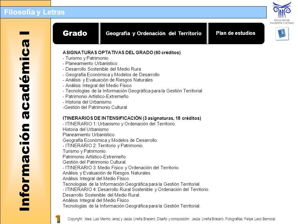 Filosofía y Letras Filología Hispánica Información académica I Geografía y Ordenación del Territorio Grado Plan de estudios ASIGNATURAS OPTATIVAS DEL