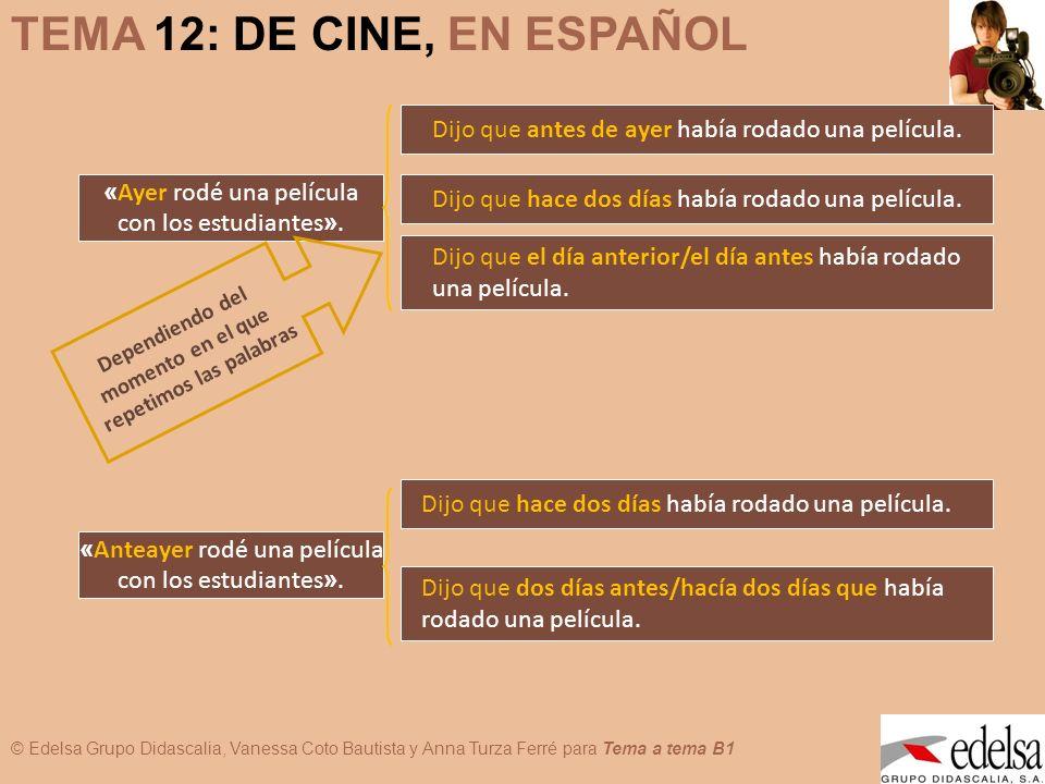 © Edelsa Grupo Didascalia, Vanessa Coto Bautista y Anna Turza Ferré para Tema a tema B1 TEMA 12: DE CINE, EN ESPAÑOL « Ayer rodé una película con los