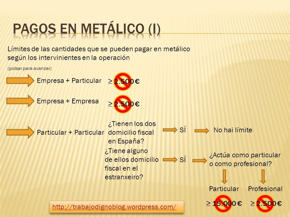 Límites de las cantidades que se pueden pagar en metálico según los intervinientes en la operación Empresa + Particular 2.500 Empresa + Empresa Particular + Particular ¿Tienen los dos domicilio fiscal en España.