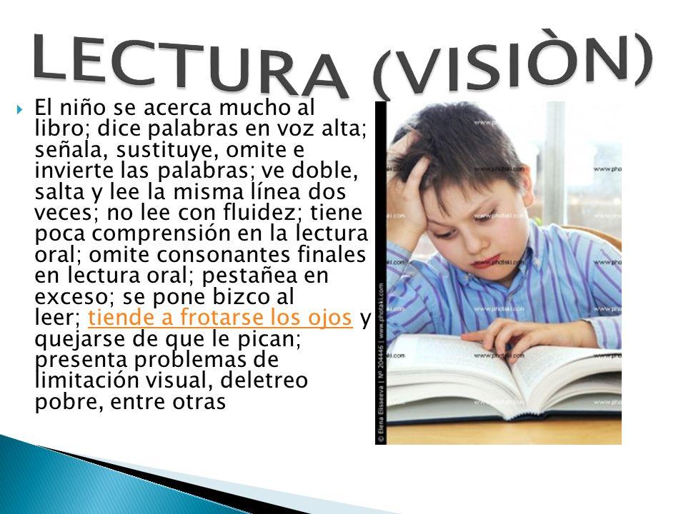 El niño se acerca mucho al libro; dice palabras en voz alta; señala, sustituye, omite e invierte las palabras; ve doble, salta y lee la misma línea do