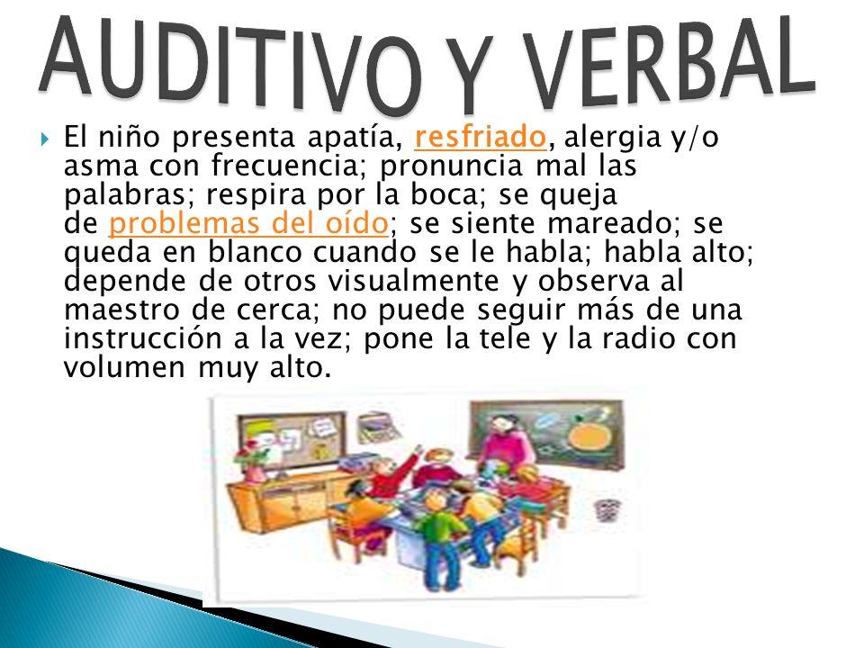 El niño presenta apatía, resfriado, alergia y/o asma con frecuencia; pronuncia mal las palabras; respira por la boca; se queja de problemas del oído;