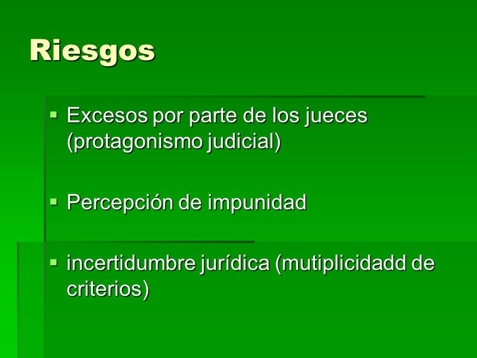 Riesgos Excesos por parte de los jueces (protagonismo judicial) Excesos por parte de los jueces (protagonismo judicial) Percepción de impunidad Percep