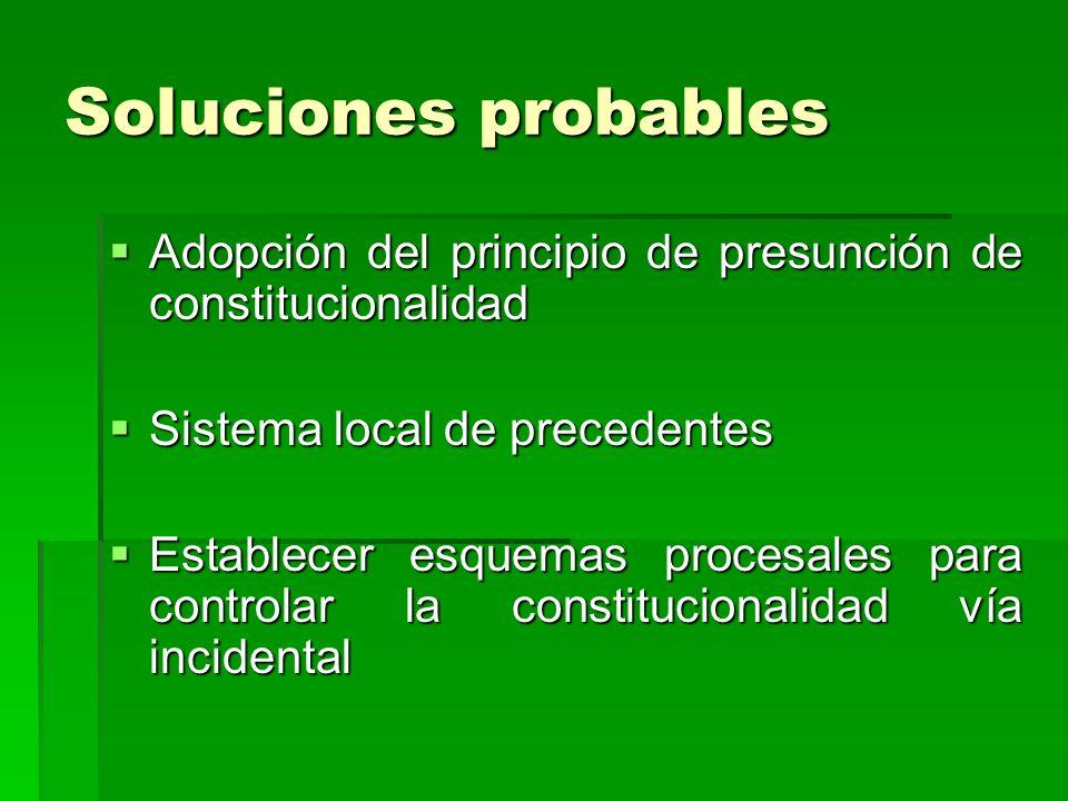 Soluciones probables Adopción del principio de presunción de constitucionalidad Adopción del principio de presunción de constitucionalidad Sistema loc