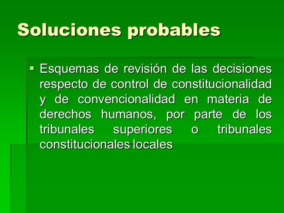 Soluciones probables Esquemas de revisión de las decisiones respecto de control de constitucionalidad y de convencionalidad en materia de derechos hum