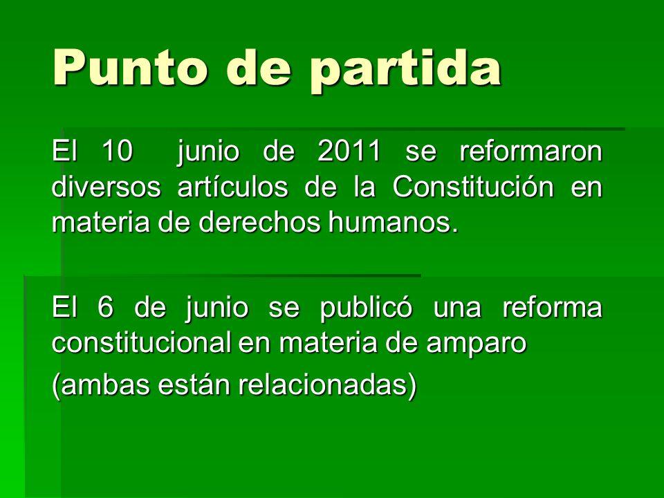 Punto de partida El 10 junio de 2011 se reformaron diversos artículos de la Constitución en materia de derechos humanos. El 6 de junio se publicó una