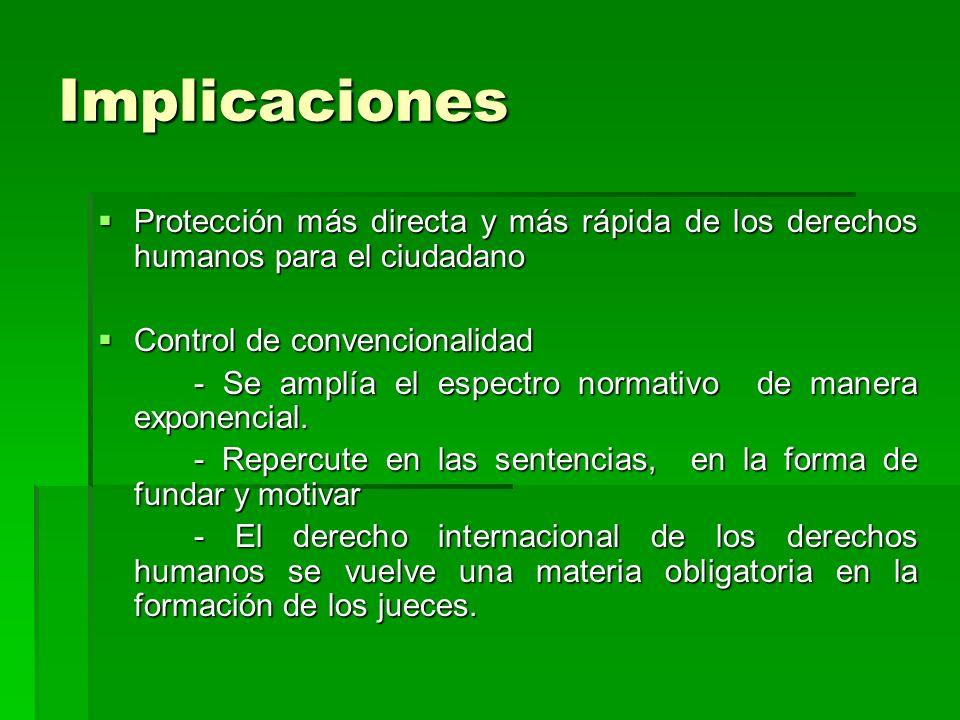 Implicaciones Protección más directa y más rápida de los derechos humanos para el ciudadano Protección más directa y más rápida de los derechos humano