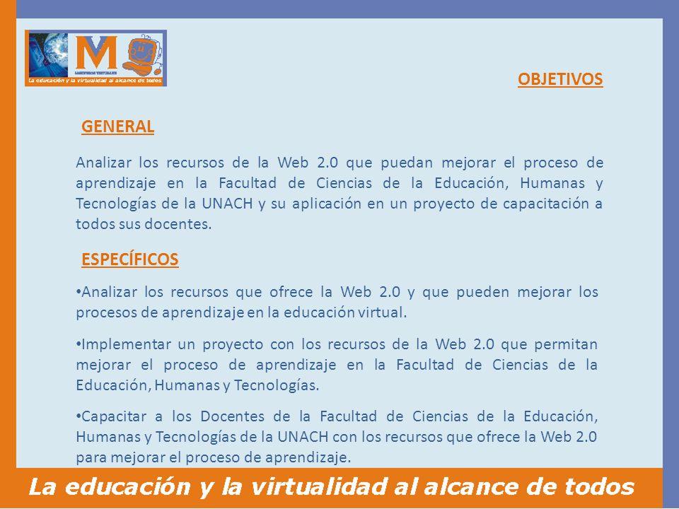OBJETIVOS Analizar los recursos que ofrece la Web 2.0 y que pueden mejorar los procesos de aprendizaje en la educación virtual.