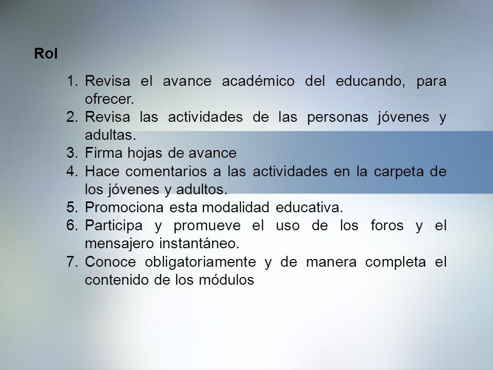 Rol 1.Revisa el avance académico del educando, para ofrecer. 2.Revisa las actividades de las personas jóvenes y adultas. 3.Firma hojas de avance 4.Hac
