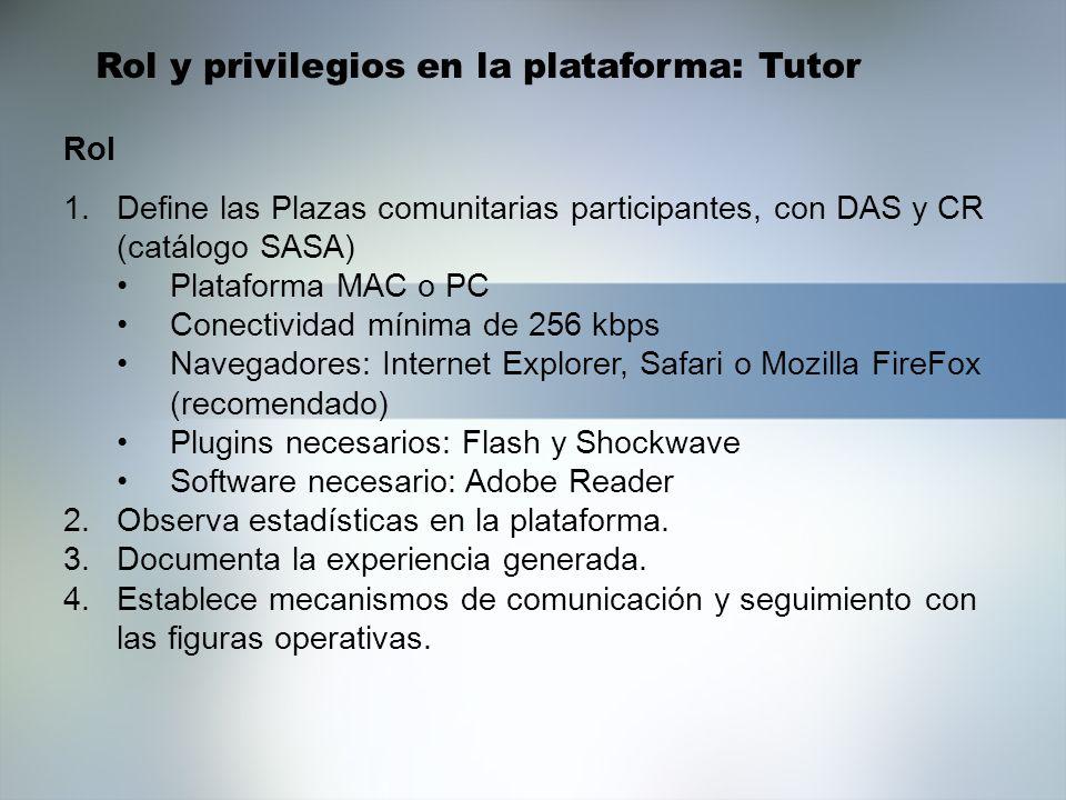 1.Define las Plazas comunitarias participantes, con DAS y CR (catálogo SASA) Plataforma MAC o PC Conectividad mínima de 256 kbps Navegadores: Internet