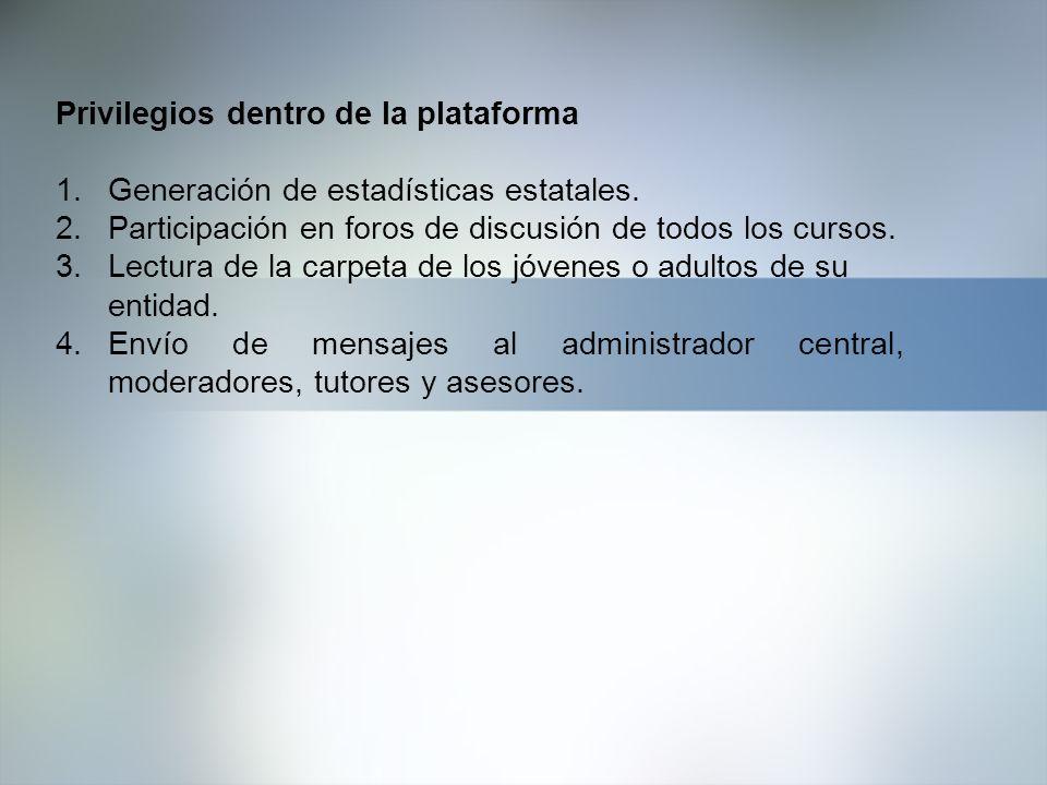 Privilegios dentro de la plataforma 1.Generación de estadísticas estatales. 2.Participación en foros de discusión de todos los cursos. 3.Lectura de la