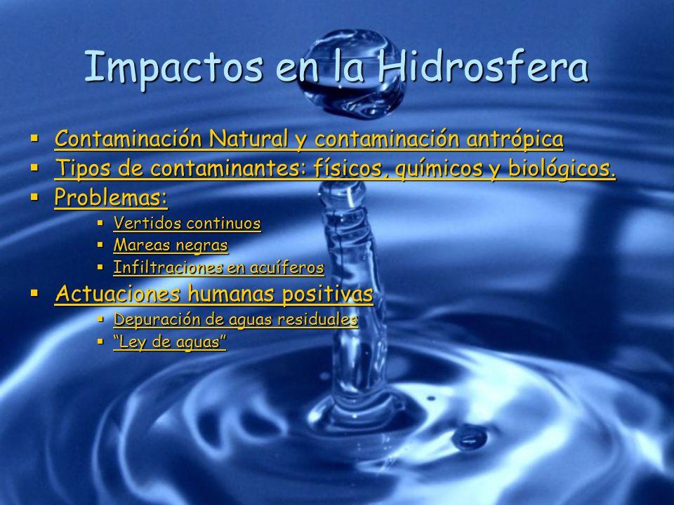 Impactos en la Hidrosfera Contaminación Natural y contaminación antrópica Contaminación Natural y contaminación antrópica Contaminación Natural y cont