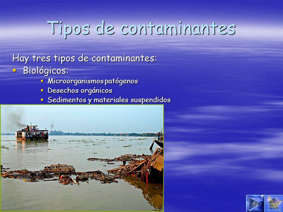 Tipos de contaminantes Hay tres tipos de contaminantes: Biológicos: Biológicos: Microorganismos patógenos Microorganismos patógenos Desechos orgánicos