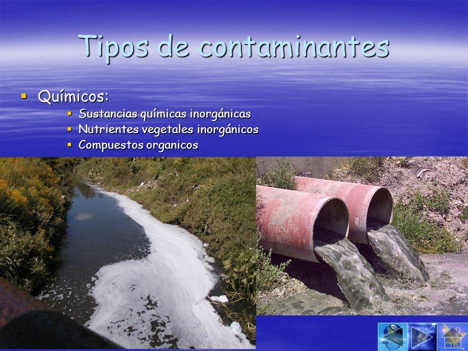 Tipos de contaminantes Químicos: Químicos: Sustancias químicas inorgánicas Sustancias químicas inorgánicas Nutrientes vegetales inorgánicos Nutrientes
