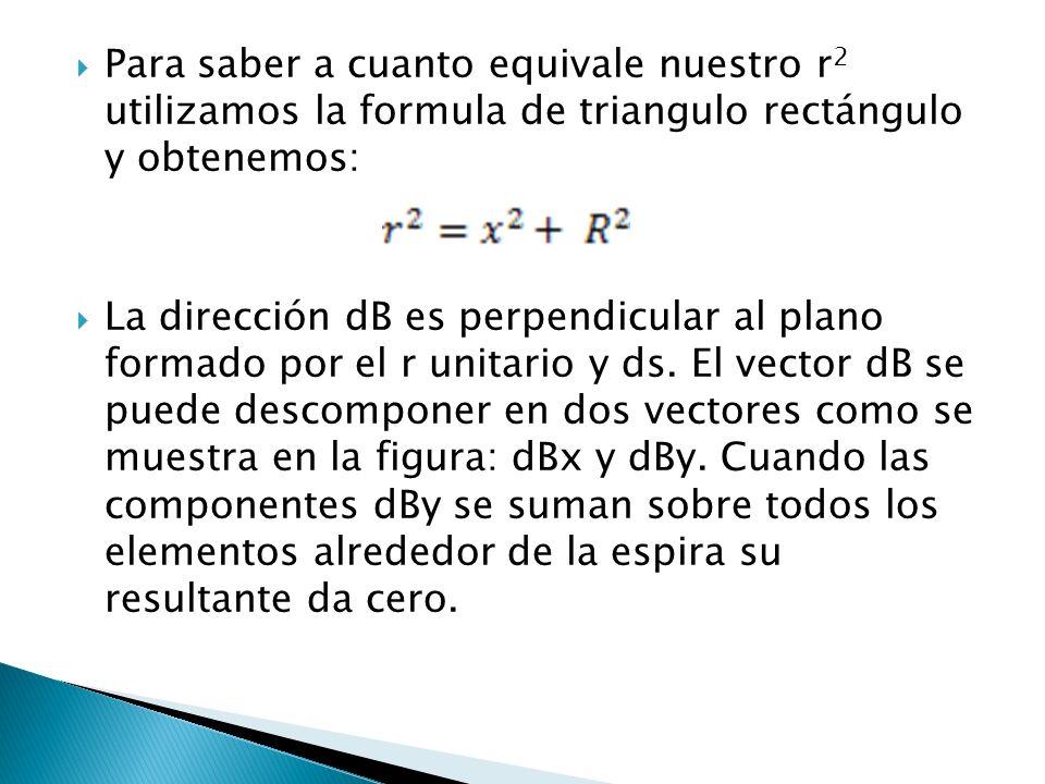 Para saber a cuanto equivale nuestro r 2 utilizamos la formula de triangulo rectángulo y obtenemos: La dirección dB es perpendicular al plano formado