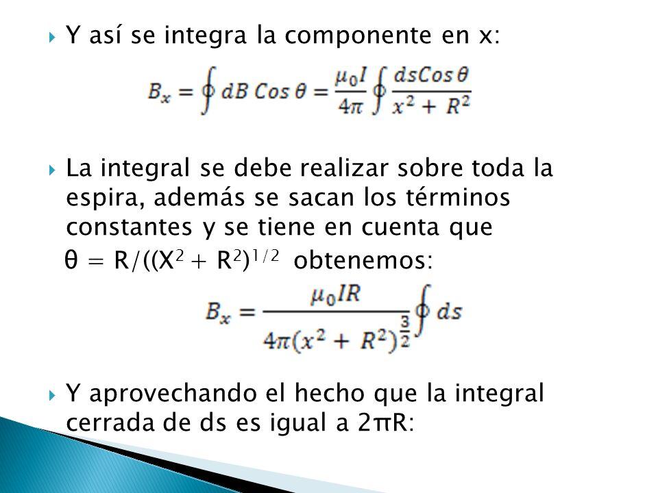 Y así se integra la componente en x: La integral se debe realizar sobre toda la espira, además se sacan los términos constantes y se tiene en cuenta q
