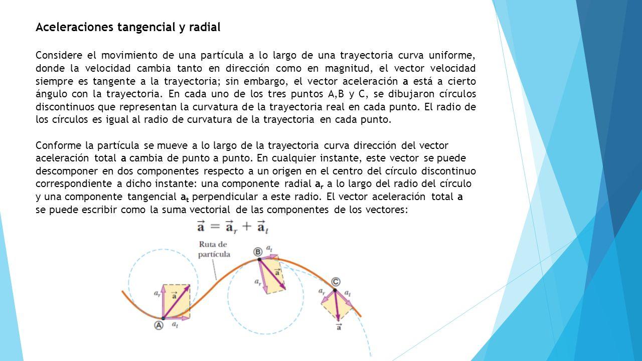 Aceleraciones tangencial y radial Considere el movimiento de una partícula a lo largo de una trayectoria curva uniforme, donde la velocidad cambia tan