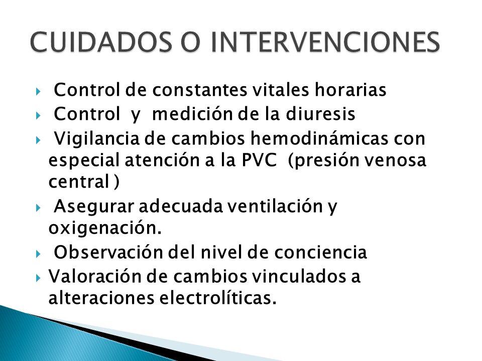 Control de constantes vitales horarias Control y medición de la diuresis Vigilancia de cambios hemodinámicas con especial atención a la PVC (presión v