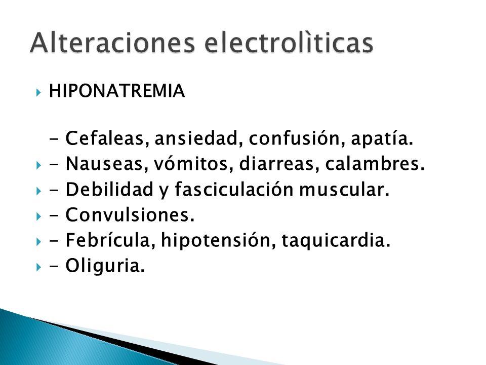HIPONATREMIA - Cefaleas, ansiedad, confusión, apatía. - Nauseas, vómitos, diarreas, calambres. - Debilidad y fasciculación muscular. - Convulsiones. -