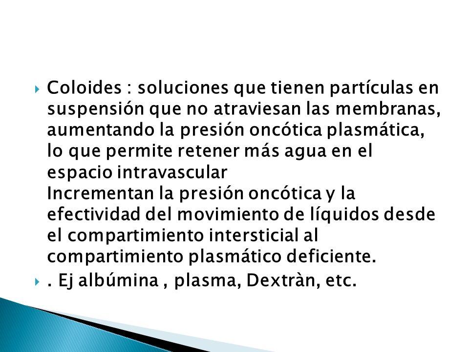 Coloides : soluciones que tienen partículas en suspensión que no atraviesan las membranas, aumentando la presión oncótica plasmática, lo que permite r