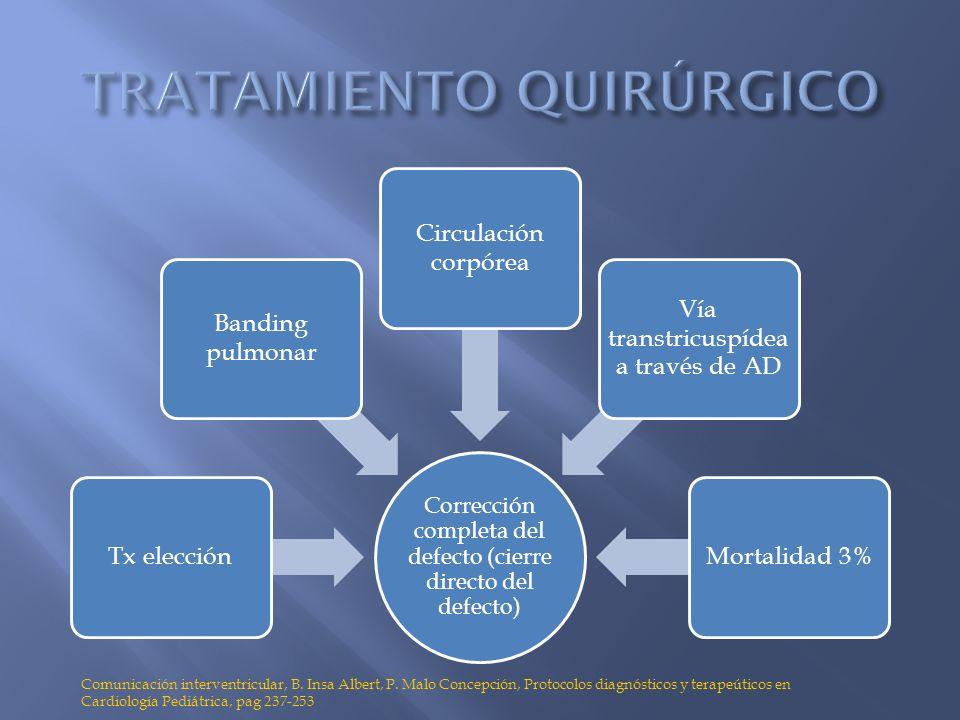 Corrección completa del defecto (cierre directo del defecto) Tx elección Banding pulmonar Circulación corpórea Vía transtricuspídea a través de AD Mor