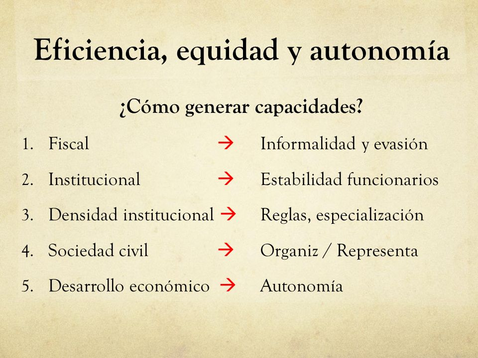 Eficiencia, equidad y autonomía ¿Cómo generar capacidades? 1. Fiscal Informalidad y evasión 2. Institucional Estabilidad funcionarios 3. Densidad inst