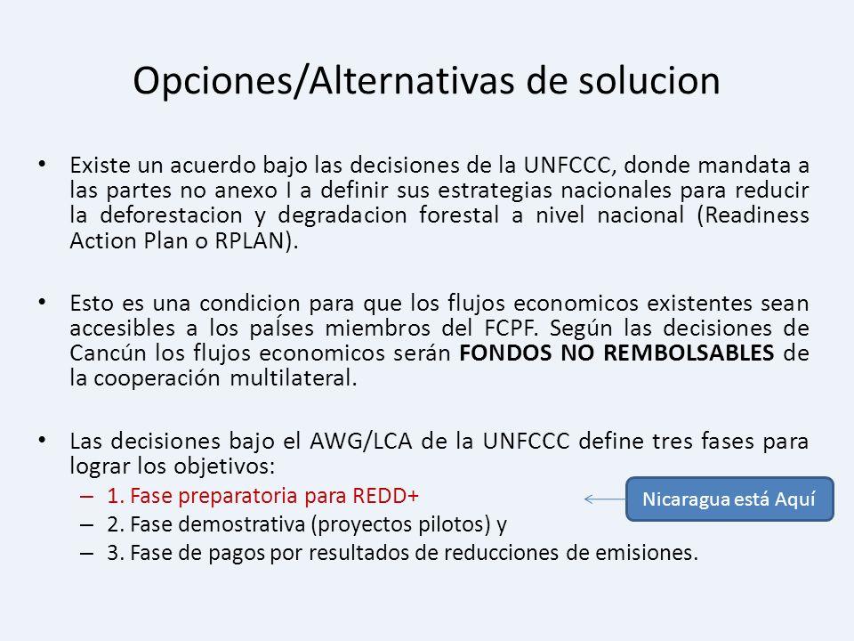 Opciones/Alternativas de solucion Existe un acuerdo bajo las decisiones de la UNFCCC, donde mandata a las partes no anexo I a definir sus estrategias