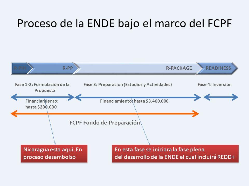 Fase 1-2: Formulación de la Propuesta Fase 3: Preparación (Estudios y Actividades) Proceso de la ENDE bajo el marco del FCPF Fase 4: Inversión Financi