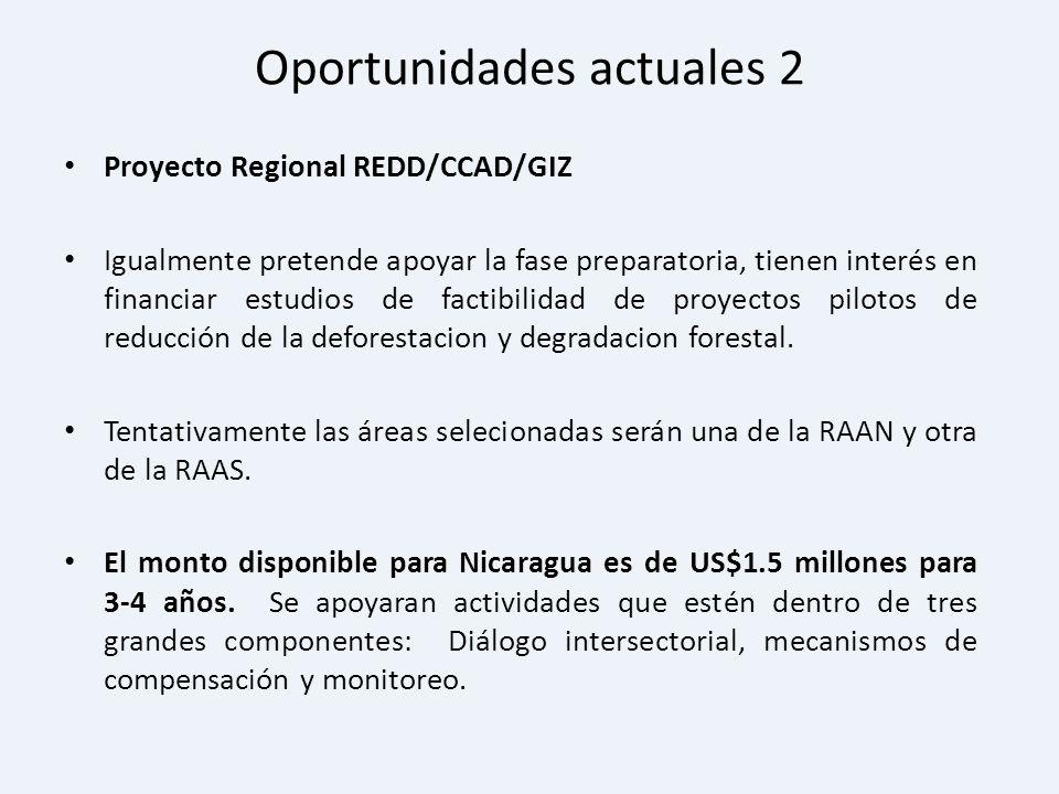 Oportunidades actuales 2 Proyecto Regional REDD/CCAD/GIZ Igualmente pretende apoyar la fase preparatoria, tienen interés en financiar estudios de fact