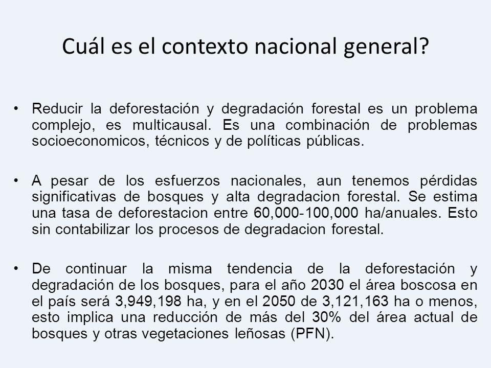 Cuál es el contexto nacional general? Reducir la deforestación y degradación forestal es un problema complejo, es multicausal. Es una combinación de p