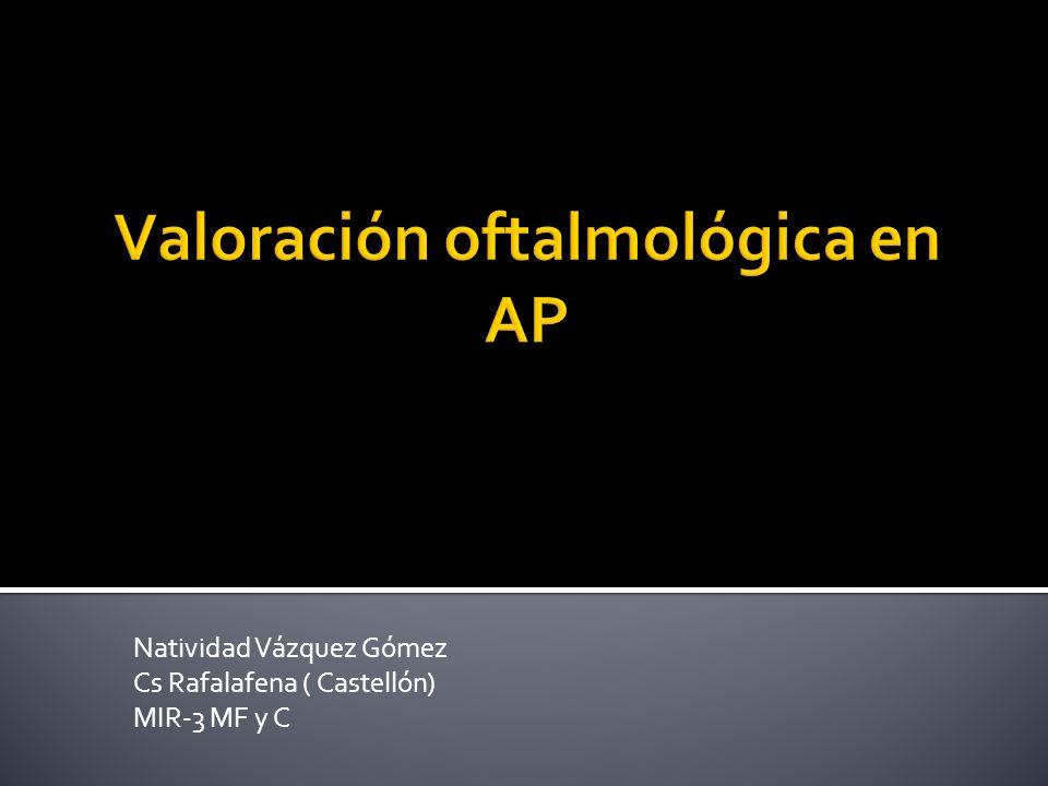 Una de las causas más frecuentes de consulta en AP MATERIAL NECESARIO: Lámina de control de agudeza visual Foco de luz blanca y azul Colirios de fluoresceína, anestésicos y vasoconstrictores