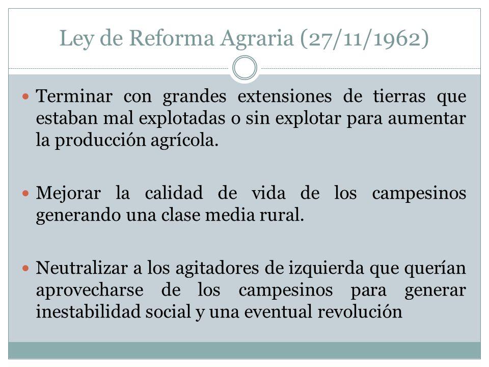 Ley de Reforma Agraria (27/11/1962) Terminar con grandes extensiones de tierras que estaban mal explotadas o sin explotar para aumentar la producción