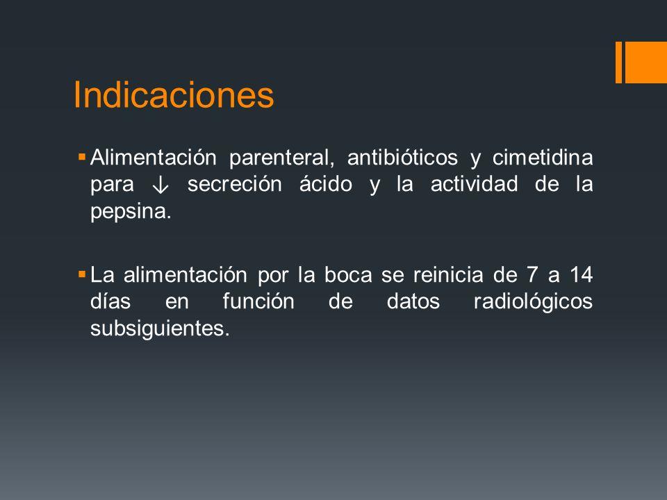 Indicaciones Alimentación parenteral, antibióticos y cimetidina para secreción ácido y la actividad de la pepsina. La alimentación por la boca se rein