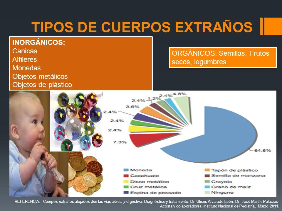 TIPOS DE CUERPOS EXTRAÑOS ORGÁNICOS: Semillas, Frutos secos, legumbres INORGÁNICOS: Canicas Alfileres Monedas Objetos metálicos Objetos de plástico IN