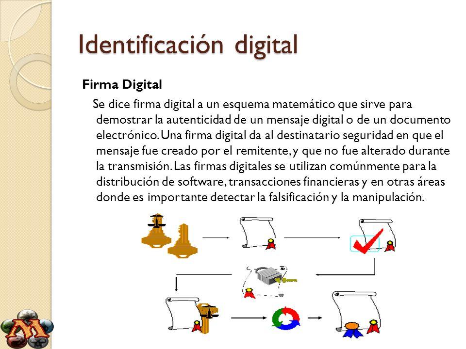 Identificación digital Firma Digital Se dice firma digital a un esquema matemático que sirve para demostrar la autenticidad de un mensaje digital o de
