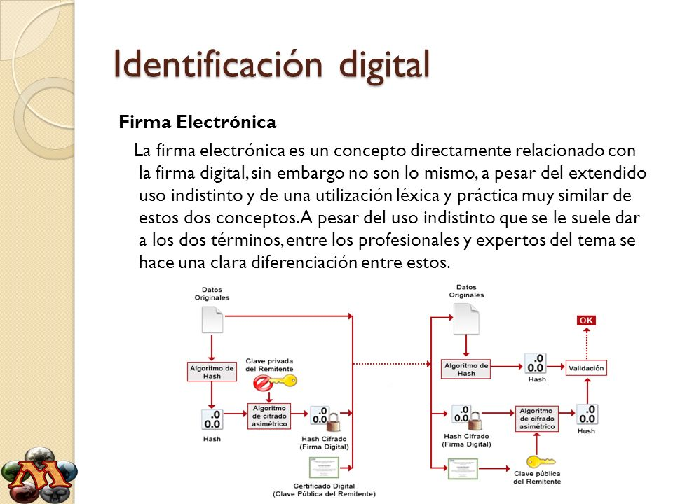 Identificación digital Firma Electrónica La firma electrónica es un concepto directamente relacionado con la firma digital, sin embargo no son lo mism