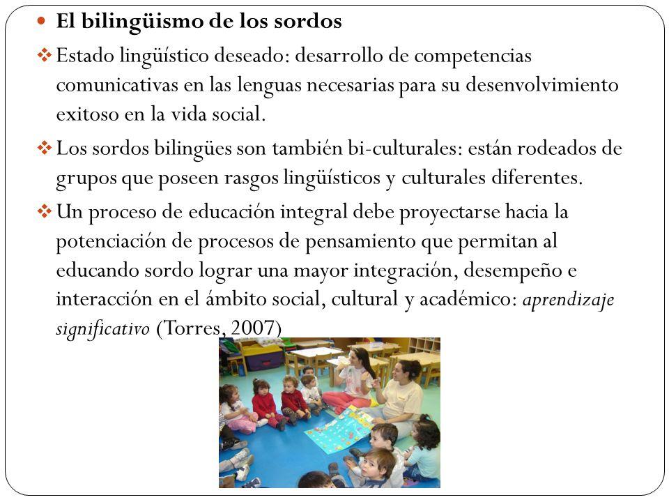 El bilingüismo de los sordos Estado lingüístico deseado: desarrollo de competencias comunicativas en las lenguas necesarias para su desenvolvimiento exitoso en la vida social.
