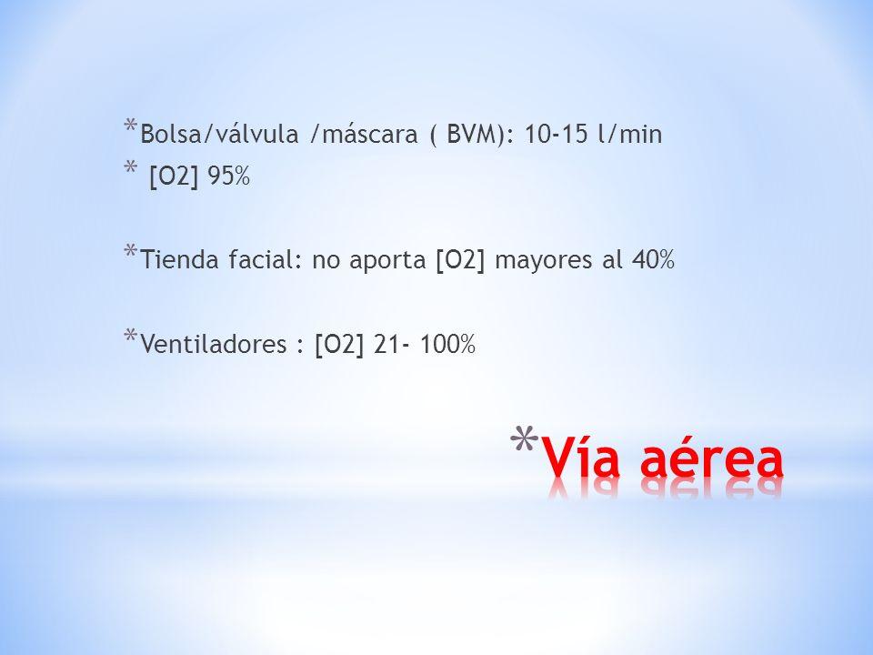 * Dispositivos para ventilación: * Cánula nasal: 1-6 l/min. [O2] 24-45% * Máscara facial simple: 6-10 l/min [O2] 40-60% * Máscara de reinhalación parc