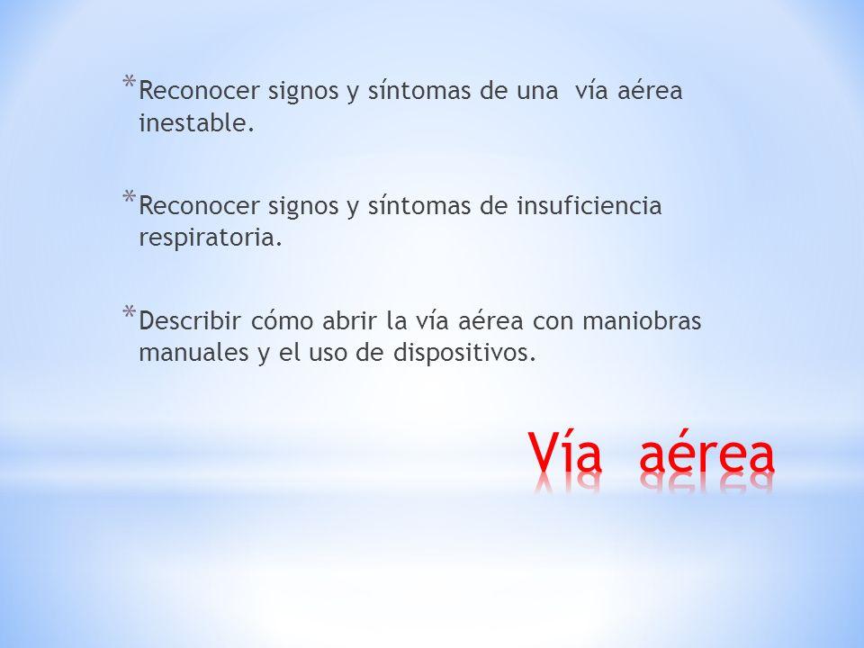 * Reconocer signos y síntomas de una vía aérea inestable.
