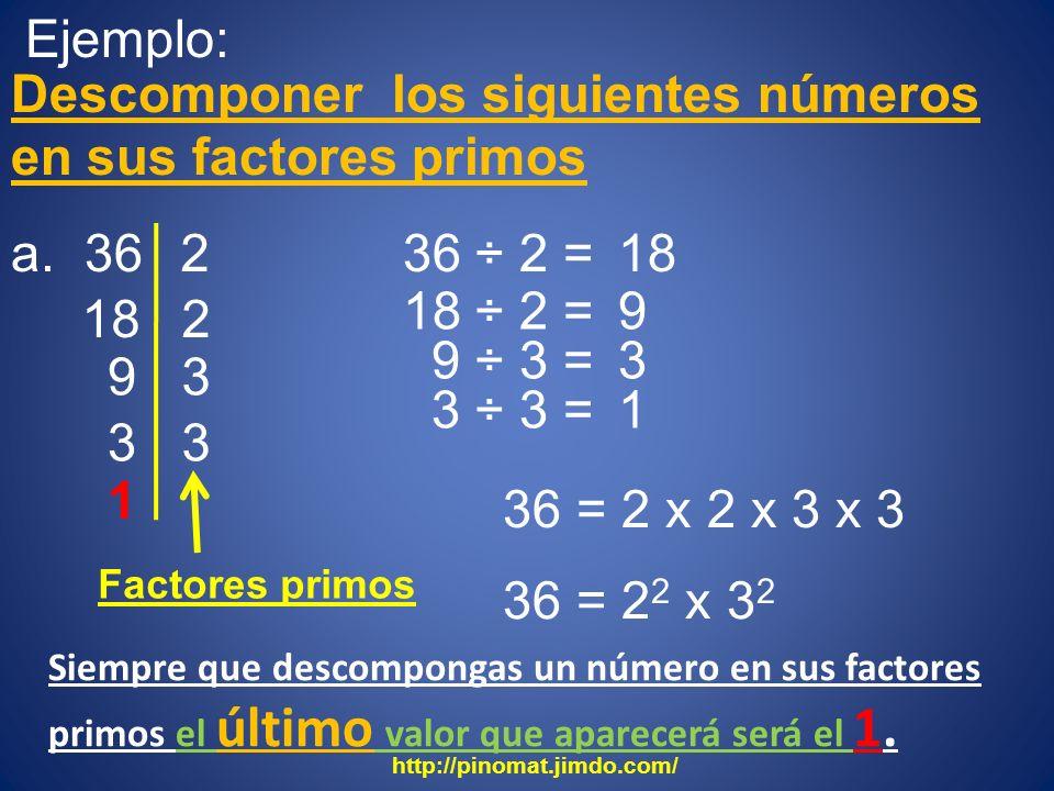 Ejemplo: Descomponer los siguientes números en sus factores primos a. 36 18 2 36 ÷ 2 = 2 18 ÷ 2 = 9 9 3 9 ÷ 3 = 3 3 ÷ 3 = 1 3 3 1 Factores primos 36 =