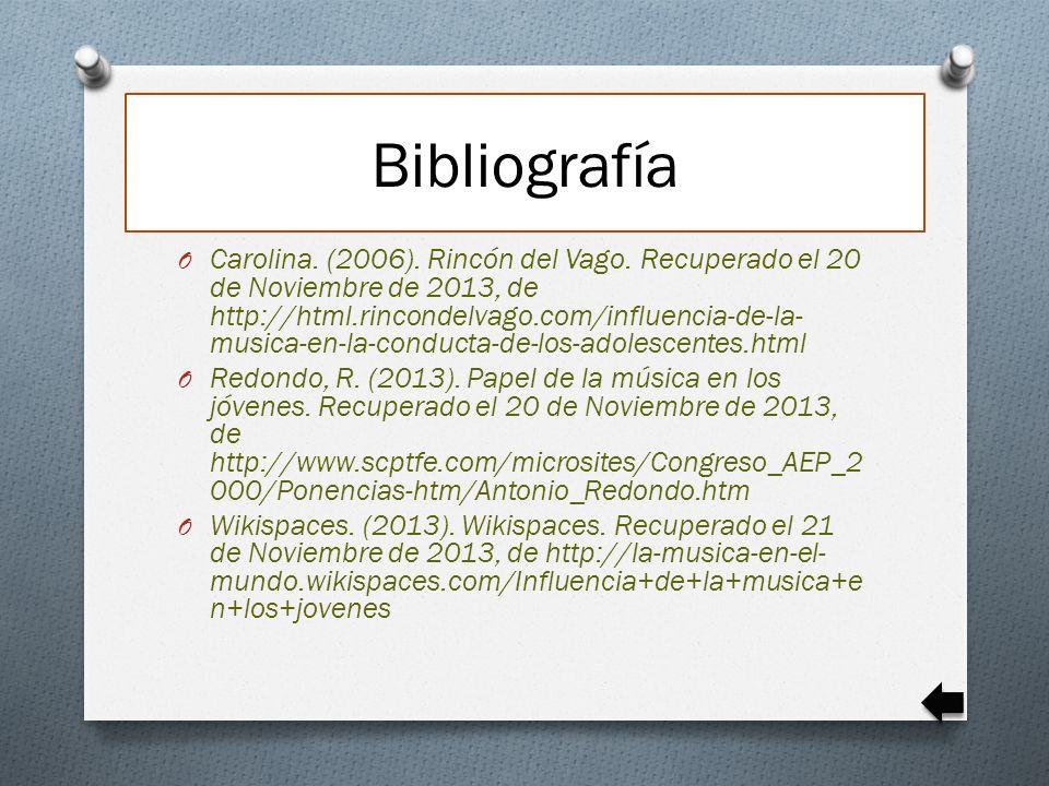 Bibliografía O Carolina. (2006). Rincón del Vago. Recuperado el 20 de Noviembre de 2013, de http://html.rincondelvago.com/influencia-de-la- musica-en-