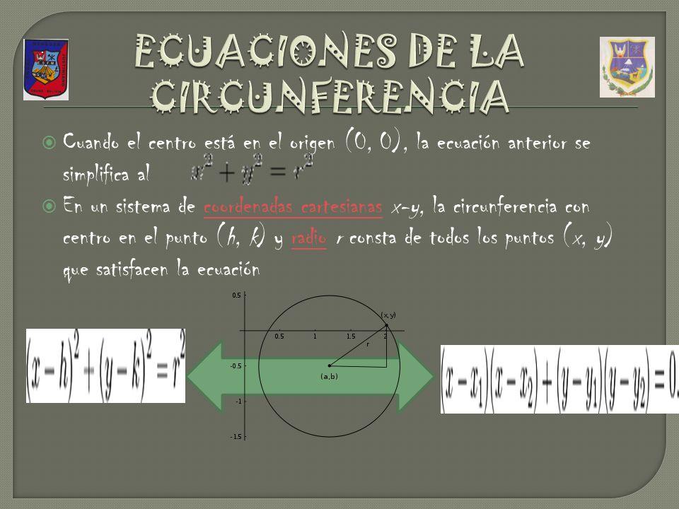 Cuando el centro está en el origen (0, 0), la ecuación anterior se simplifica al En un sistema de coordenadas cartesianas x-y, la circunferencia con centro en el punto (h, k) y radio r consta de todos los puntos (x, y) que satisfacen la ecuacióncoordenadas cartesianasradio.