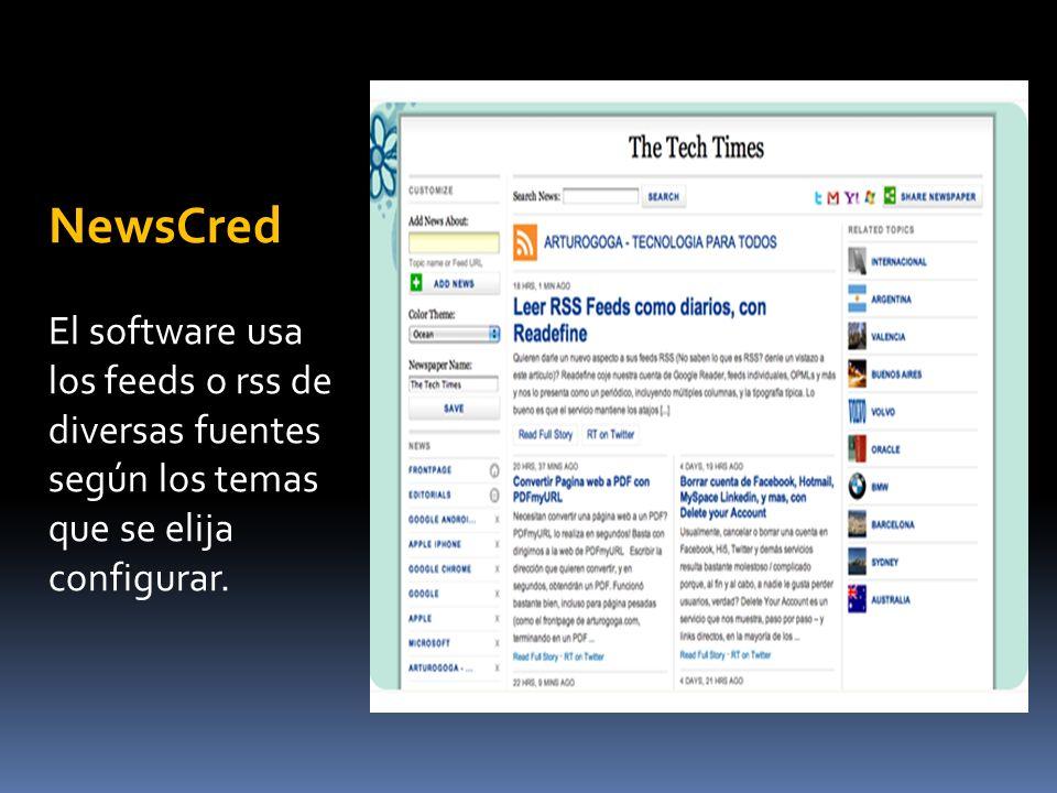NewsCred El software usa los feeds o rss de diversas fuentes según los temas que se elija configurar.