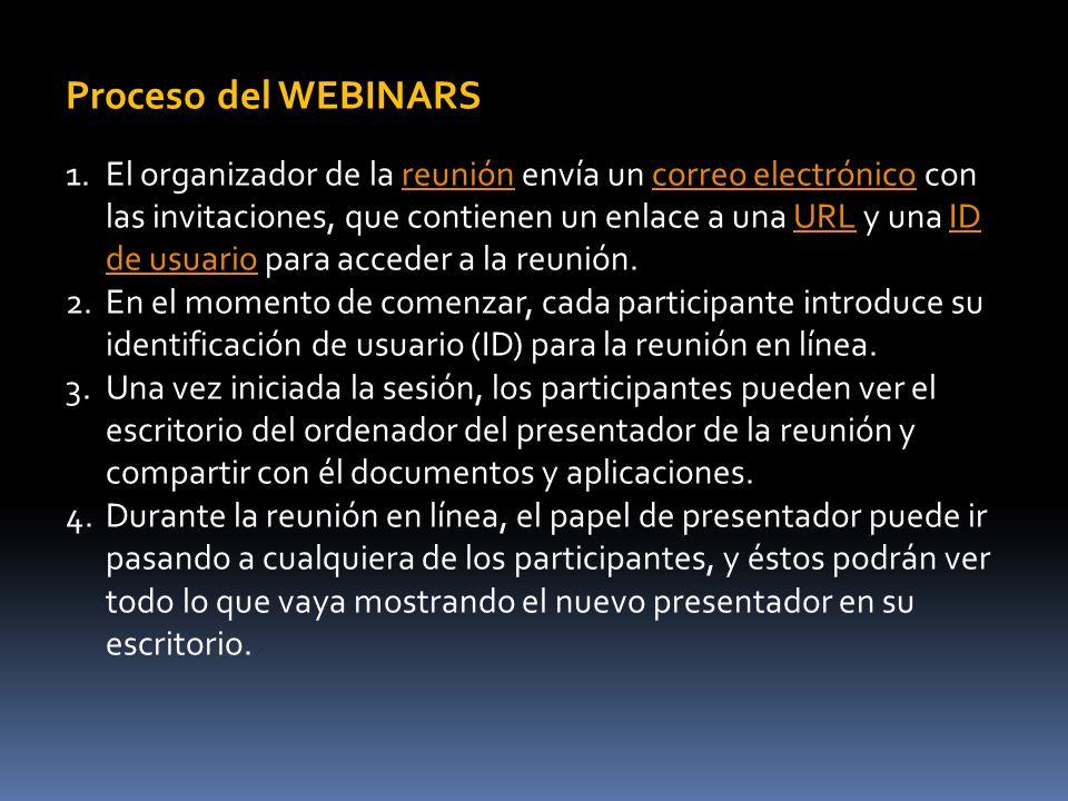 Proceso del WEBINARS 1.El organizador de la reunión envía un correo electrónico con las invitaciones, que contienen un enlace a una URL y una ID de usuario para acceder a la reunión.reunióncorreo electrónicoURLID de usuario 2.En el momento de comenzar, cada participante introduce su identificación de usuario (ID) para la reunión en línea.